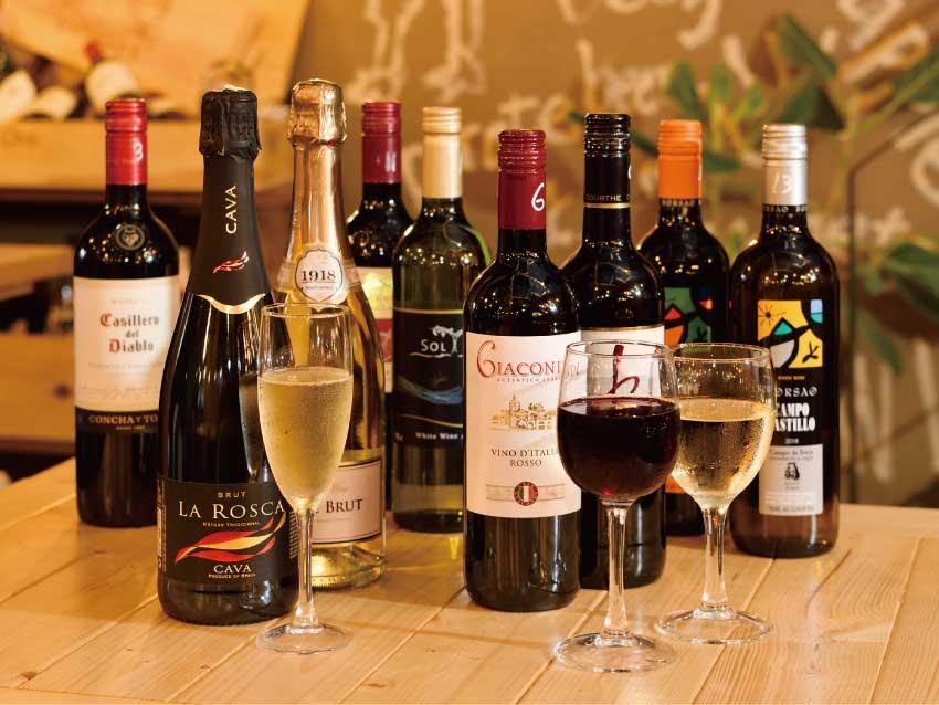 ボトルワイン20種類時間無制限飲み放題