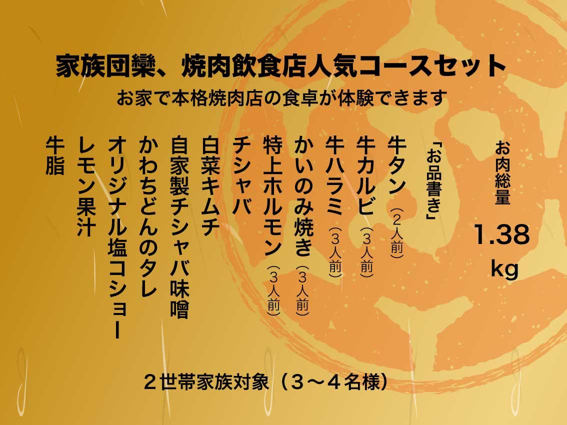 通販焼肉フルコース3〜4名お品書き