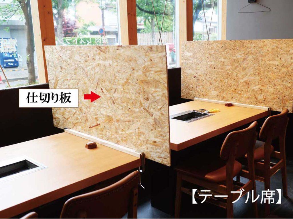 焼肉かわちどん清水店テーブル席「飛沫防止対策」